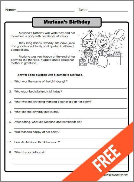 printable reading comprehension worksheets for 3rd grade