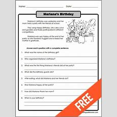 Printable Reading Comprehension Worksheets For 3rd Grade #2  Lugares Para Visitar Pinterest