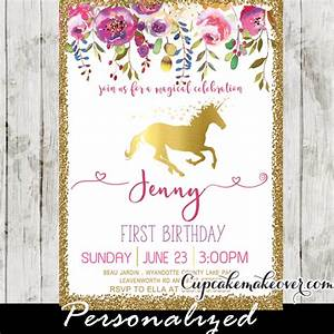 Unicorn Party Invitations, Printable Pink Gold Floral