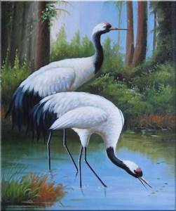 Two Graceful Red Crowned Cranes Play in Water Oil Painting ...