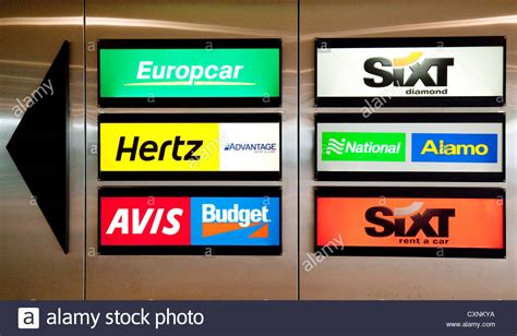 Signs For Car Hire Rental Firms, Zurich Airport
