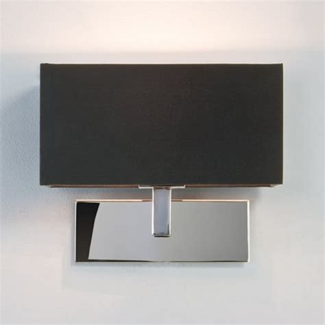 modern chrome wall light with black rectangular shade from