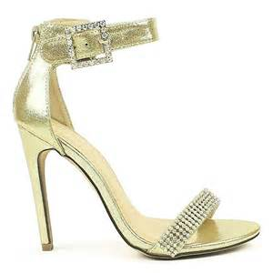 rhinestone bands silver gold open toe heels rhinestones metallic leatherette