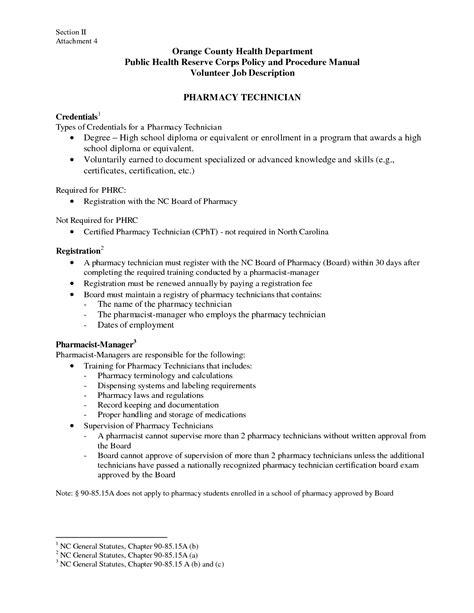 description of pharmacy technician for resume resume