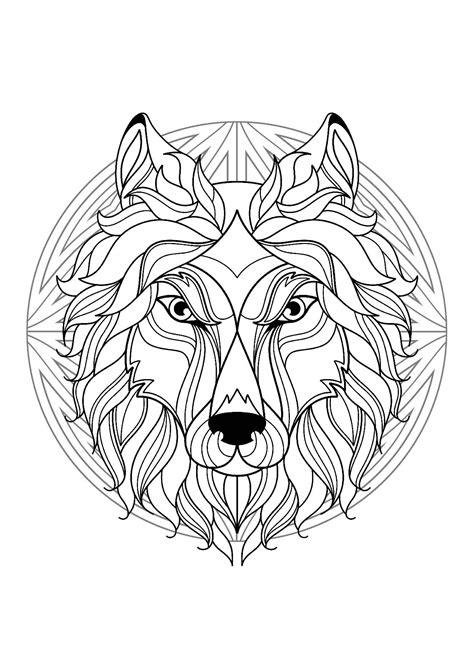 Mandala with elegant Wolf head and beautiful patterns - M