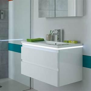 meuble vasque salle de bain laque blanc halo sanijura With meuble salle de bain blanc laqué brillant