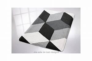 Tapis De Bain Design : tapis de bains motifs g om triques coloris noir blanc gris ~ Teatrodelosmanantiales.com Idées de Décoration