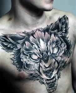 Upper Chest Wolf Tattoo