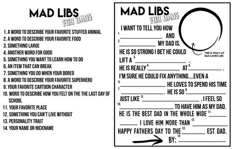 Mad Libs For Dads! A Fun Father's Day Printable