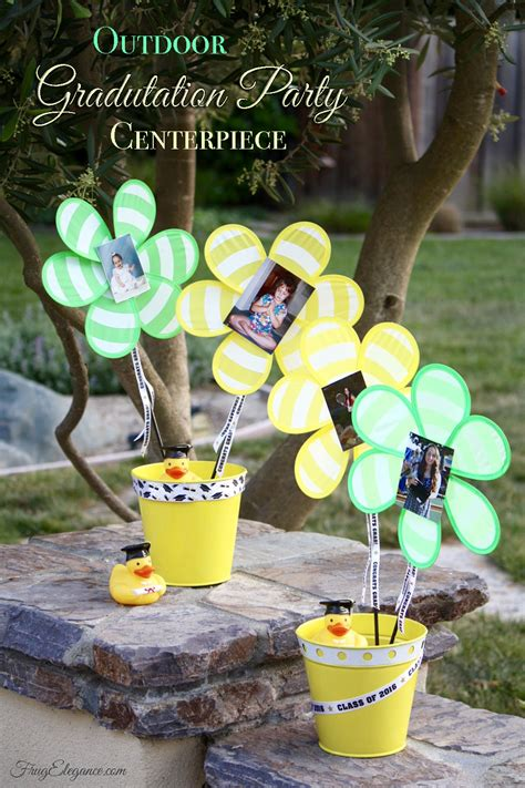 outdoor graduation party centerpiece frugelegance