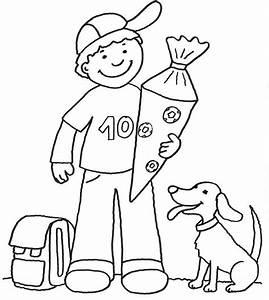 Kind Mit Schultüte : kostenlose malvorlage einschulung junge mit schult te zum ~ Lizthompson.info Haus und Dekorationen