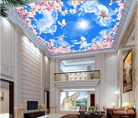 custom photo  ceiling murals wallpaper white cloud