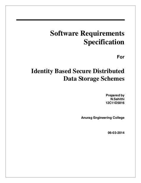 Srs document for identity based secure distributed data