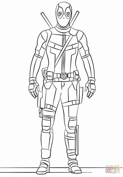 Coloring Deadpool Pages Printable Drawing Paper