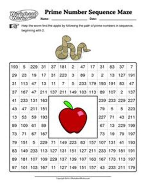 prime number sequence maze 3rd 5th grade worksheet