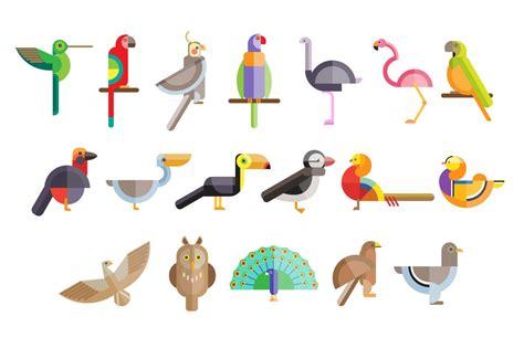 flat birds   geometric figur illustrations