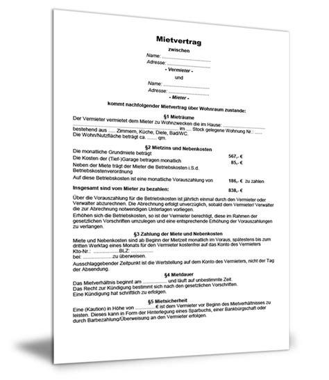 änderung Mietvertrag Vorlage by Wohnungsmietvertrag Vorlage