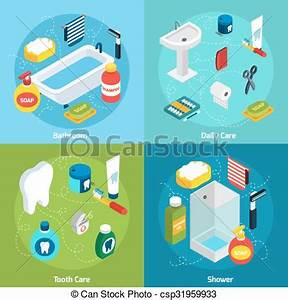 Personal Cleanliness Chart Personal Hygiene Concept Isometric Concept Set With