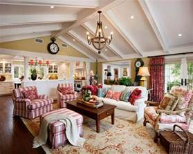 french country family living room love the beams on