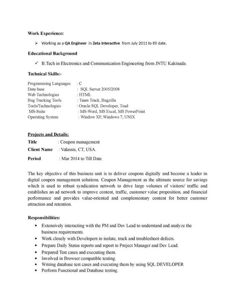 manual testing resume sle for 2 years experience sle manual testing resume
