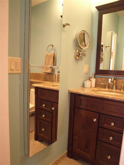 Semirecessed Medicine Cabinets Create Full Height Mirror