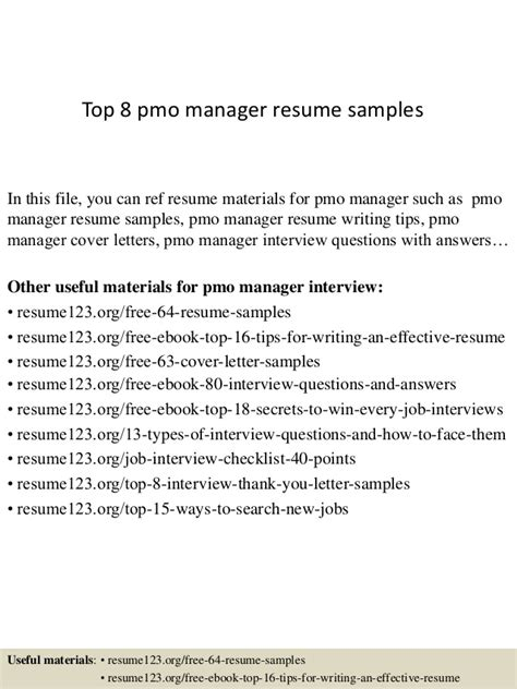 top 8 pmo manager resume sles