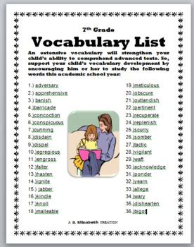 grade vocabulary list   elizabeth creations tpt