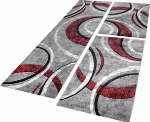 Bettumrandung Teppich Mit Konturenschnitt Grau Schwarz Rot
