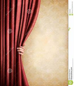 vintage background with red old curtain and hand stock With red curtain background vintage