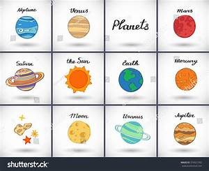 Drawn planets solar system - Pencil and in color drawn ...