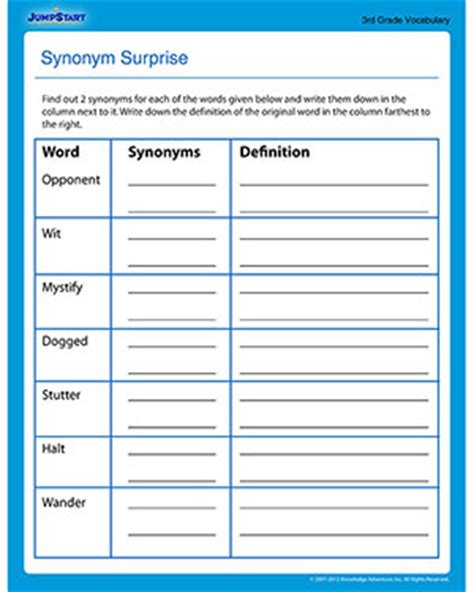 Synonym Surprise  Free 3rd Grade Vocabulary Worksheet Jumpstart