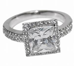 the look of real princess cut halo bridal clear cubic With cubic zirconia wedding rings that look real