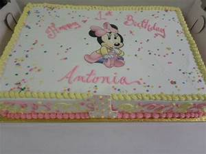 Baby Minnie Mouse 1st Birthday Sheet Cake | Ninas first ...