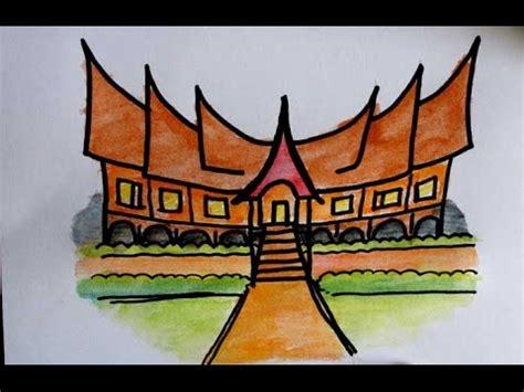 belajar menggambar rumah adat minangkabau  anak sd