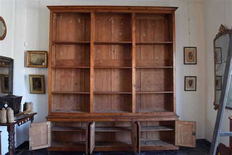 Italian Circa 1870 Large Bookcase In Chestnut, Open Shelves And Locking Cabinets At 1stdibs