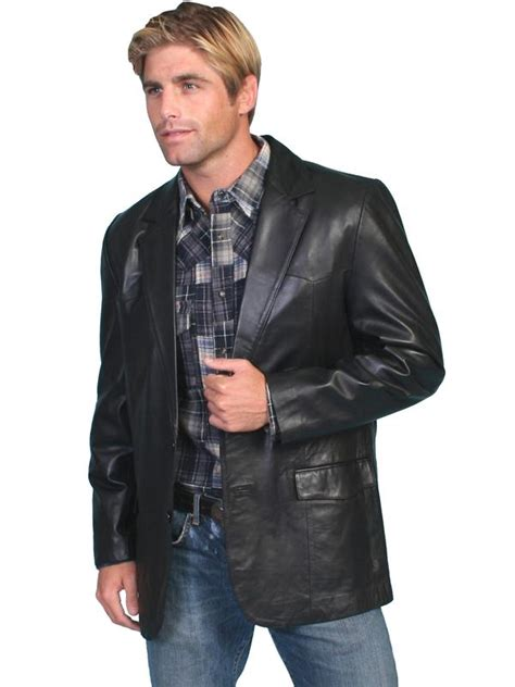 scully mens leather blazer western sportcoat lamb black