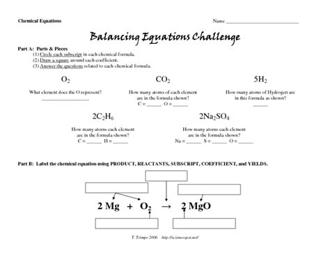 balancing equations challenge worksheet for 9th 12th