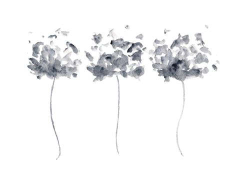 Abstract Black And White Watercolor Painting watercolor flower painting watercolor poppies black and