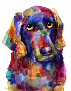Colorful Weimaraner Dog Art Painted Portrait Painting ...