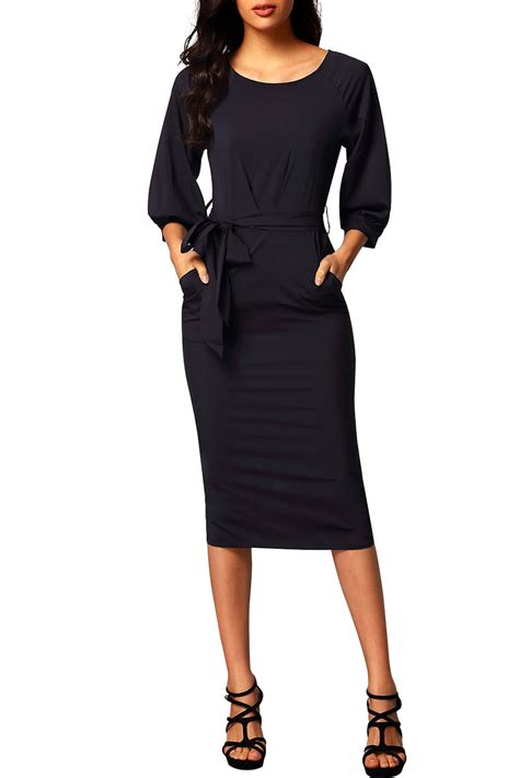 wholesale black puff sleeve belt chiffon pencil dress