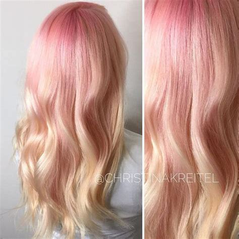 creamy blonde hair color  pastel pink roots