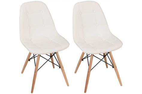 lot de 2 chaises lofi capitonn 233 es design pieds bois blanches design pas cher sur sofactory