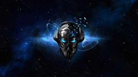Digital Skull Wallpaper by Skull Headphones Space Mask Shattered Blue
