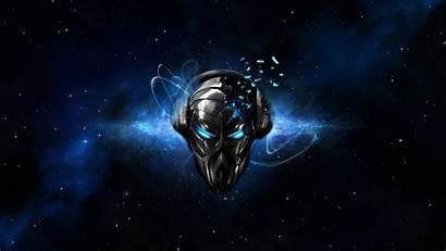 Headphones Skull Space Digital Eyes Mask Artwork