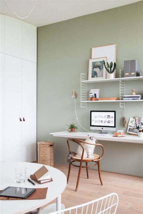 light home office with green wall styled by marder