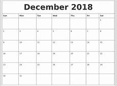 December 2018 Monthly Printable Calendar