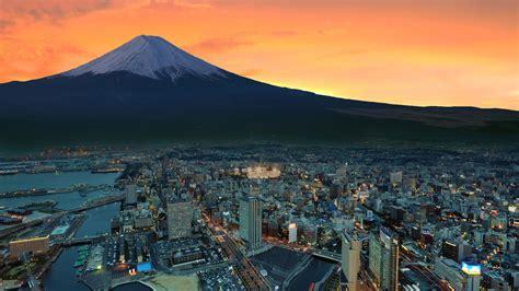 mount fuji snowy peak japan sunset city p