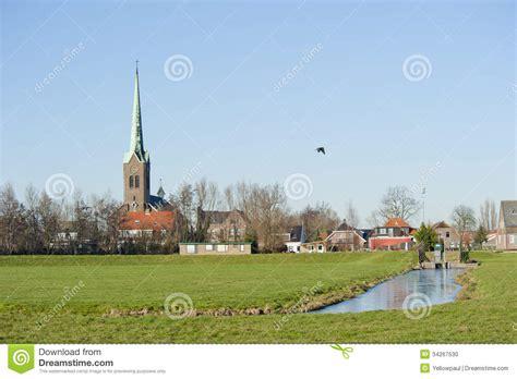 typical dutch village scenery  stock photo image
