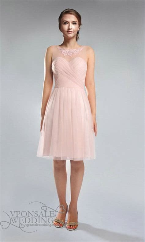 Boat Neck Dress Pink by Blush Pink Lace And Tulle Strapless Boat Neck Bridesmaid