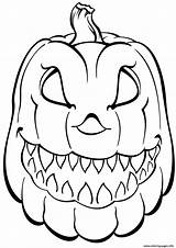 Pumpkin Coloring Halloween Scary Pages Printable sketch template